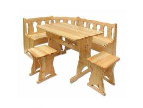 Dřevěný jídelní set s rohovou lavicí MASIV BM102 z borovice