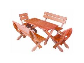 Dřevený zahradní set 105 - stůl +2 židle TIK +2lavice