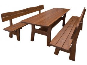 Dřevěný zahradní set 106 -stůl + 2 lavice OŘECH