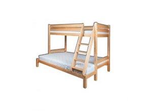 Dětská patrová postel masiv BM155 140x200cm s rozšířeným spodním lůžkem