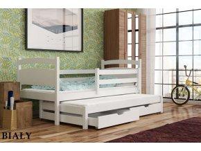 Dřevěná postel KLEO s úložným prostorem a výsuvným lůžkem 90x190cm