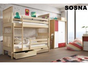 Dřevěná postel Bruno 80x200 cm z borovice