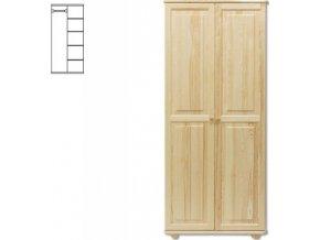 Kombinovaná dřevěná šatní skřín MASIV 104 z borovice