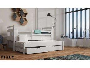 Dřevěná postel FELIKS s úložným prostorem a výsuvným lůžkem 90x200cm