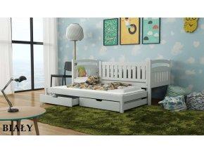Dřevěná postel GALAXY s úložným prostorem a výsuvným lůžkem 90x200cm