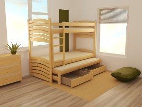 Patrová postel s výsuvnou přistýlkou PPV 021 90 x 200 cm
