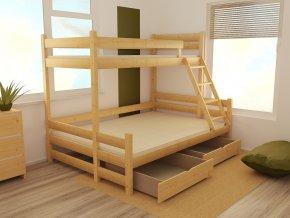 Patrová postel s rozšířeným spodním lůžkem PPS 004  100/160 x 200 cm