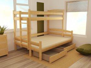 Patrová postel s rozšířeným spodním lůžkem PPS 001 80/120 x 200 cm