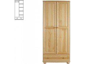 Dřevěná šatní skřín se šuplíkem MASIV 107 z  borovice