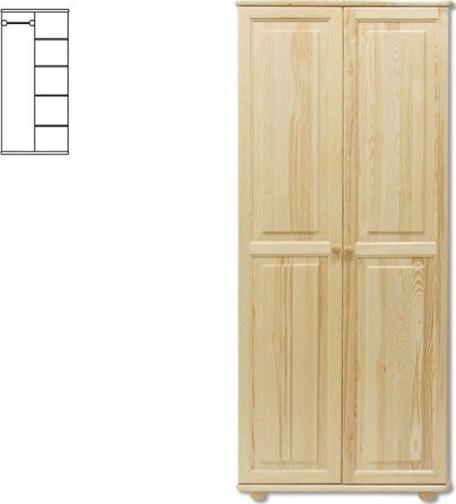 Kombinovaná dřevěná šatní skřín MASIV 104 z borovice Barevné provedení: Ořech