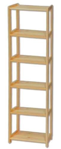 Knihovna - regál dřevěný 121 šířka 60 cm Barevné provedení: Přírodní lakovaná