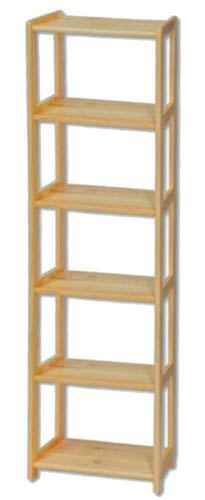 Knihovna - regál dřevěný 121 šířka 80 cm Barevné provedení: Přírodní lakovaná