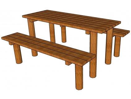Stůl s lavicemi AKÁT katalog