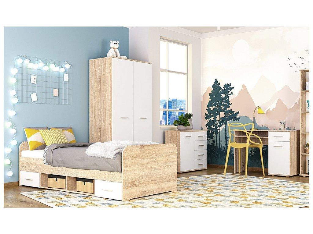 Dětský pokoj DOMINO II (postel, skříň, PC stůl) sonoma/bílá