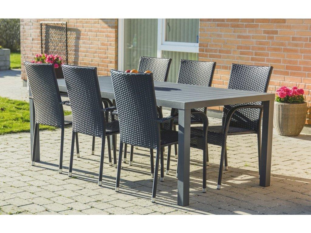 Zahradní sestava BADEN + ESSEN (1x stůl + 6x křeslo) antracit