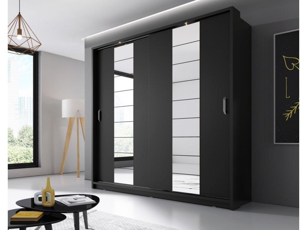 Šatní skříň 14 ARTI 220 zrcadlo černá