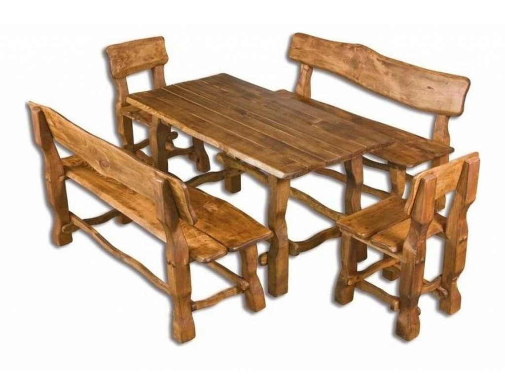 OM-101 zahradní sestava (1x stůl + 2x lavice + 2x židle) brunat