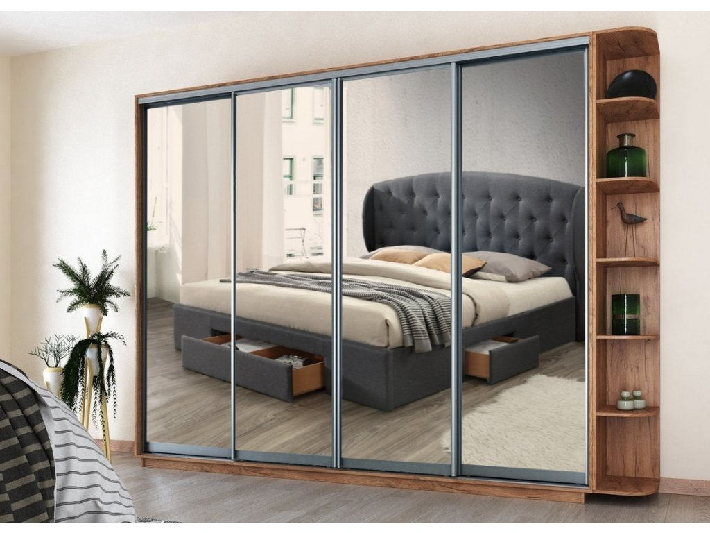 Šatní skříň REFLECTION 280 kraft zlatý/zrcadlo