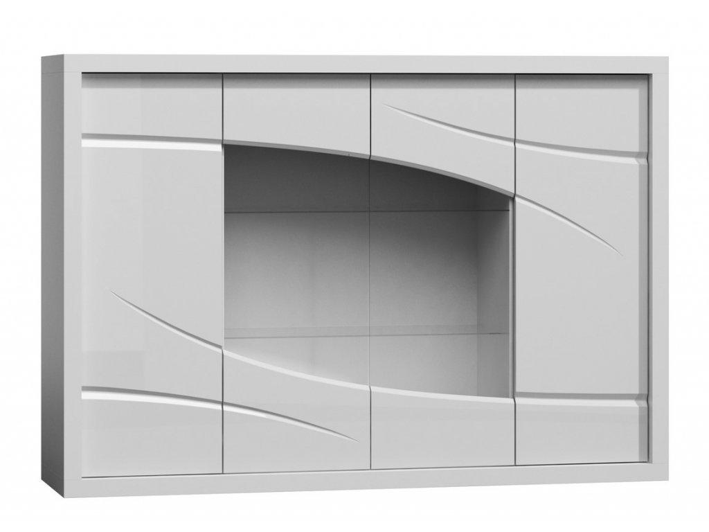 Komoda s vitrínou PARIS P11 bílý lesk/bílá