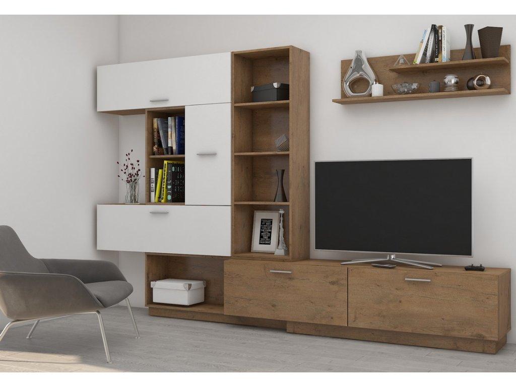 Obývací stěna ALJAŠKA dub lancelot/bílý lesk