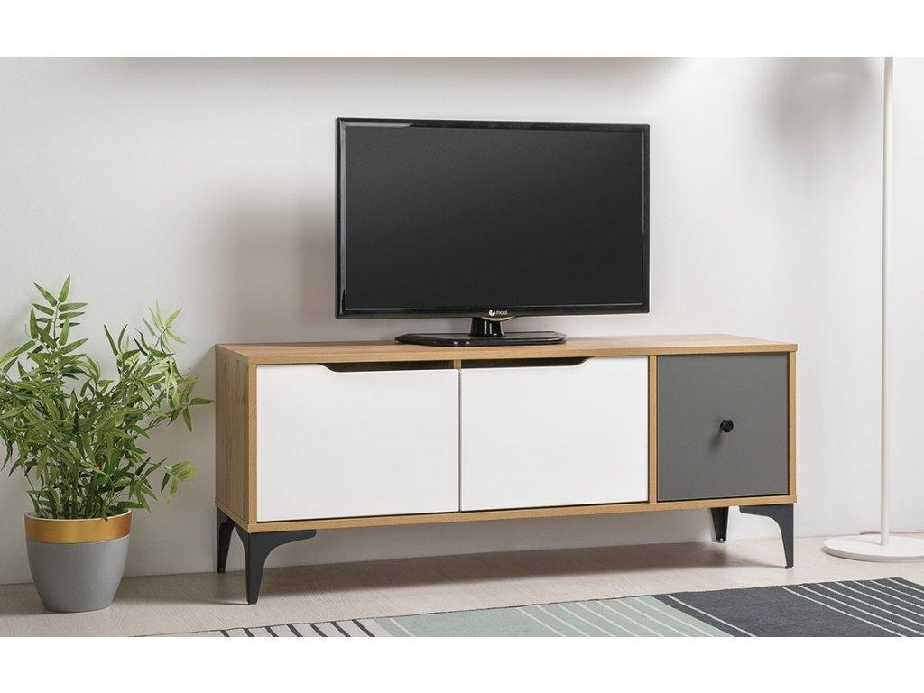 Televizní stolek DRILL dub zlatý/šedá/bílá