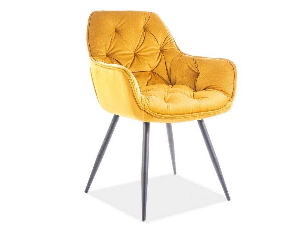 Jídelní čalouněná židle CHERRY velvet žlutá curry/černá