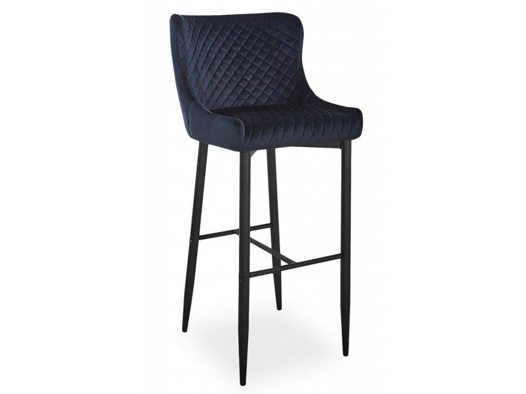 Barová židle COLIN B H-1 VELVET černá/černá