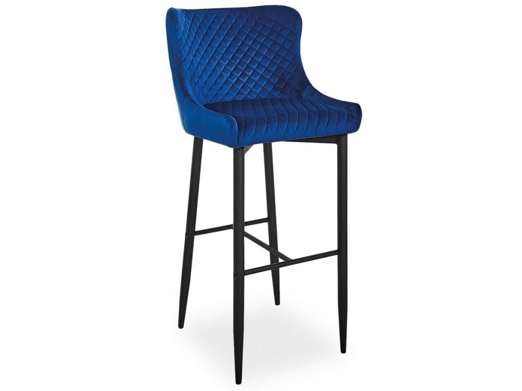 Barová židle COLIN B H-1 VELVET granátová/černá