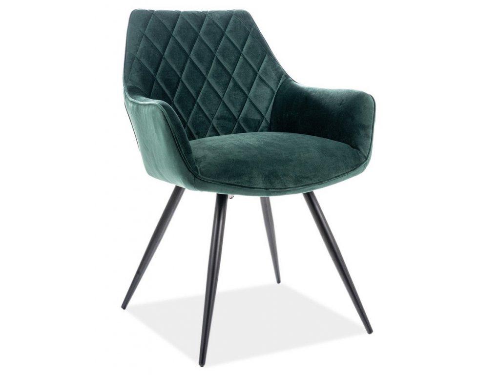 Jídelní čalouněná židle LINEA velvet zelená/černá