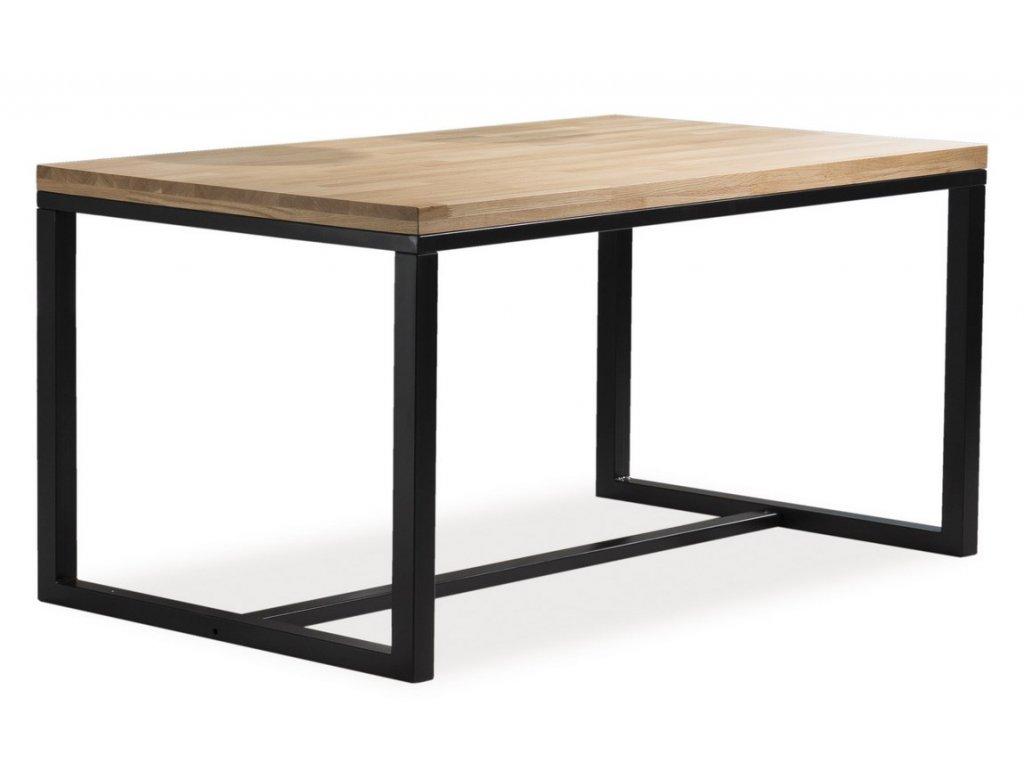 Jídelní stůl LORAS A 120x80 dub masiv/černá
