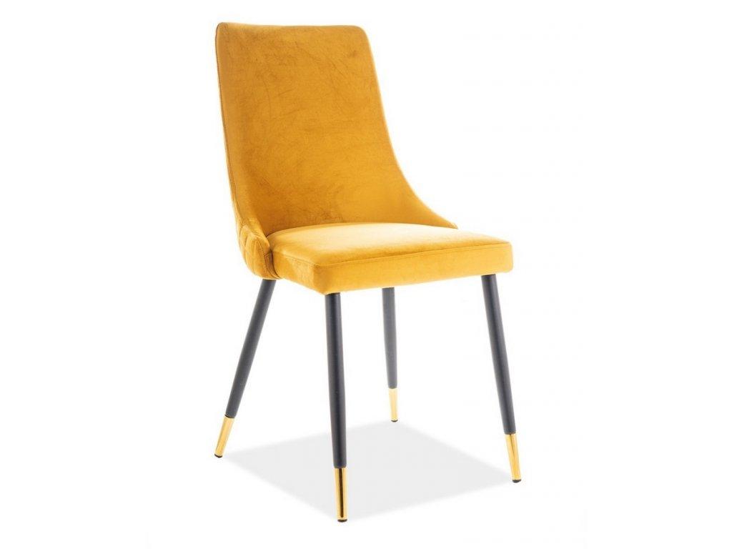 Jídelní čalouněná židle PIANO velvet žlutá/černá/zlatá