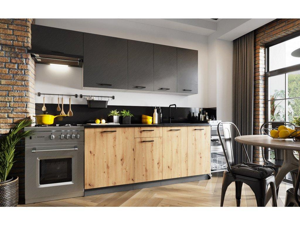 Kuchyně CARLO 240 šedá grafit/dub artisan