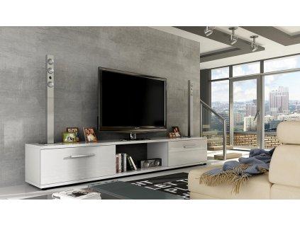 TV stolek MALCOM bílý lesk