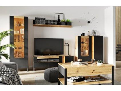 Obývací sestava LAKO SET1 (2x vitrína, tv stolek, police) dub evoke/černá