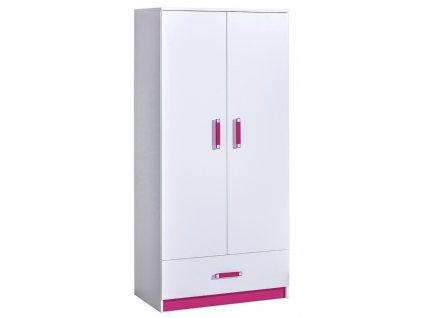 Šatní skříň TRAFICO 1 bílá/růžová