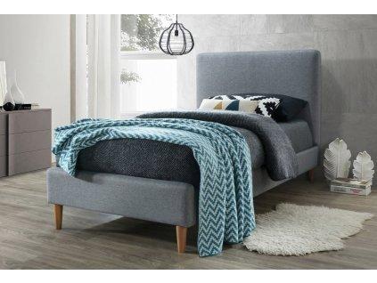 Čalouněná postel ACOMA 90x200 šedá/dub