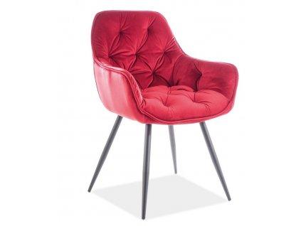 Jídelní čalouněná židle CHERRY velvet červená bordó/černá