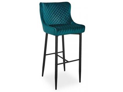 Barová židle COLIN B H-1 VELVET zelená/černá