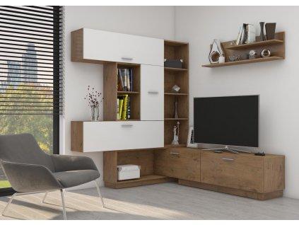 Obývací stěna Corner dub lancelot/bílý lesk