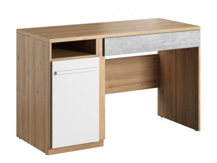 Pracovní stůl FLAMY 06 1D1S dub nash/šedá/bílá