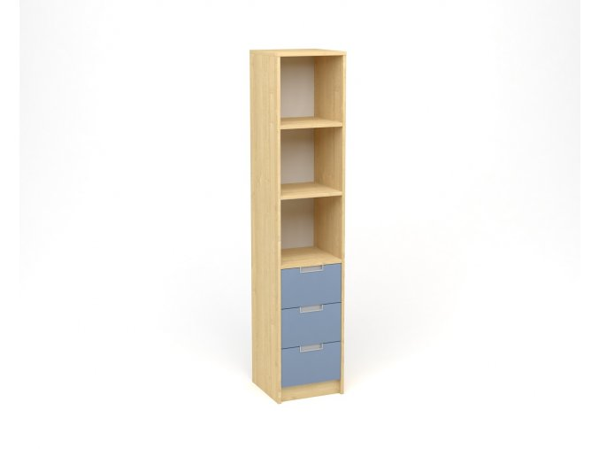 Policová skříň úzká, zásuvky s nikou - javor, modrá