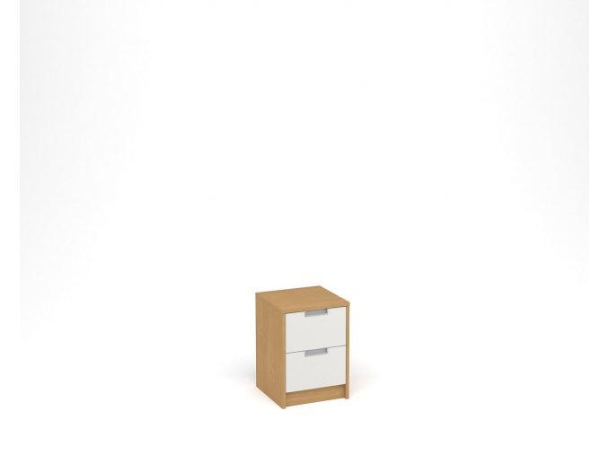 Noční stolek se dvěma zásuvkami - buk, bílá