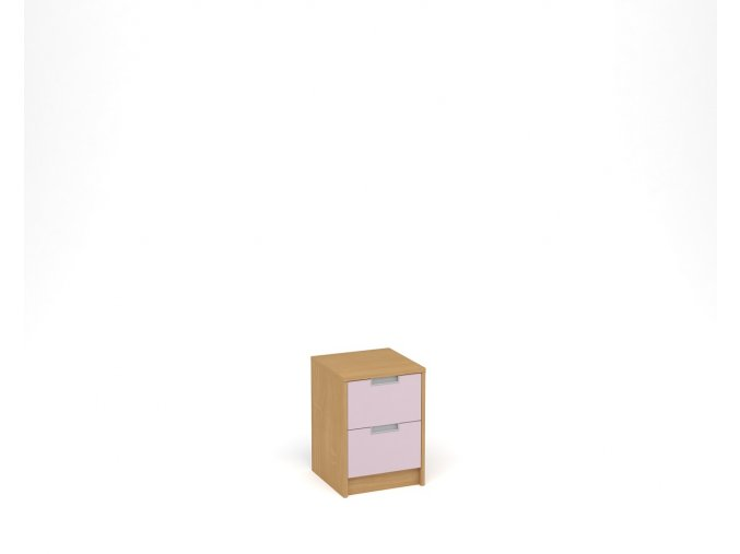 Noční stolek se dvěma zásuvkami - buk, levandulová