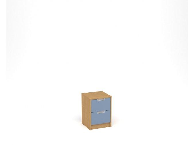 Noční stolek se dvěma zásuvkami - buk, modrá