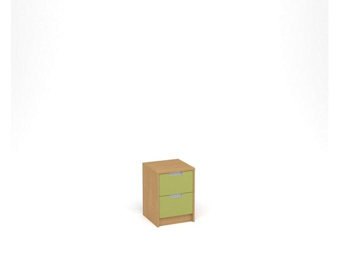 Noční stolek se dvěma zásuvkami - buk, zelená