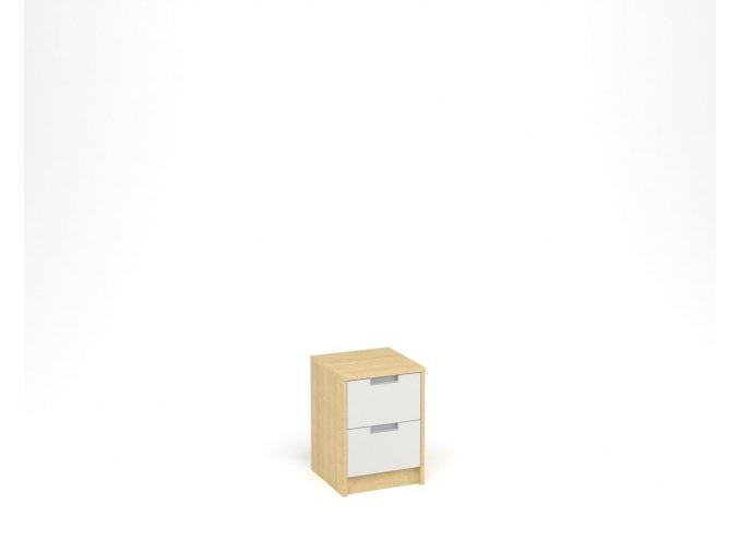 Noční stolek se dvěma zásuvkami - javor, bílá