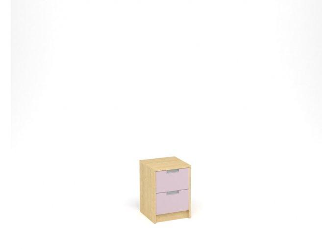 Noční stolek se dvěma zásuvkami - javor, levandulová