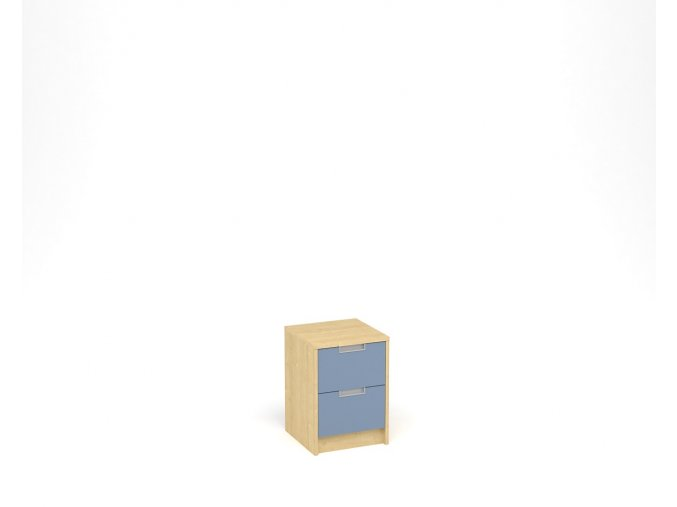 Noční stolek se dvěma zásuvkami - javor, modrá