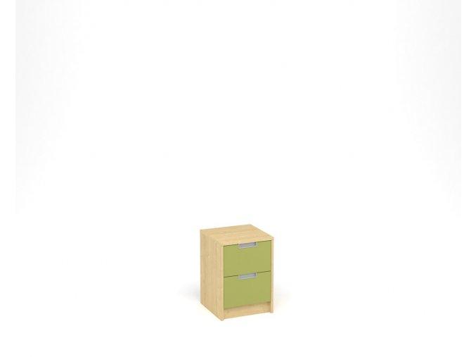 Noční stolek se dvěma zásuvkami - javor, zelená