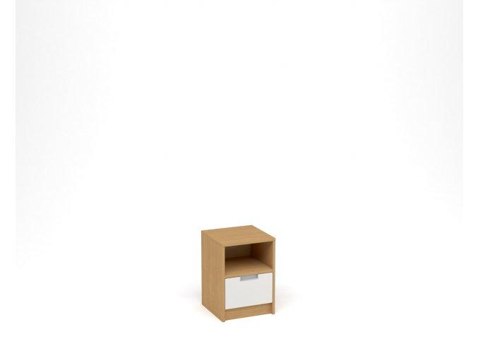 Noční stolek, 1 zásuvka s nikou - buk, bílá